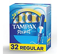 Tampax Pocket Pearl Tampons Compact Regular Absorbency Unscented - 32 Count