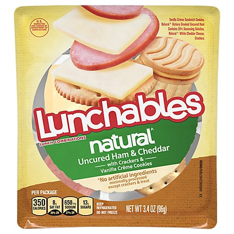 Lunchables Ham And Cheddar Natural Meat & Cheese Convenience Meals - 3.4 Oz