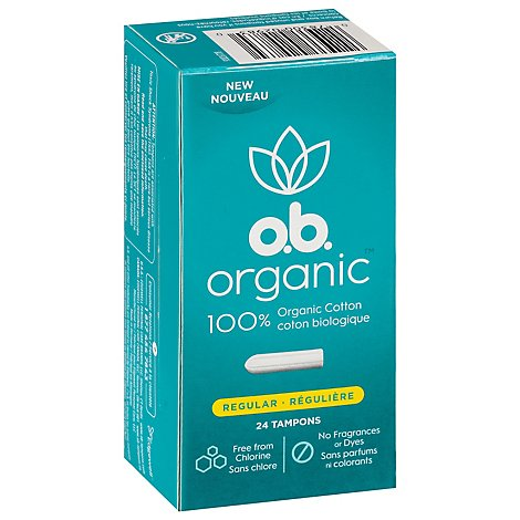o.b. Organic Tampons Digital Applicator Free Regular Absorbency - 24 Count