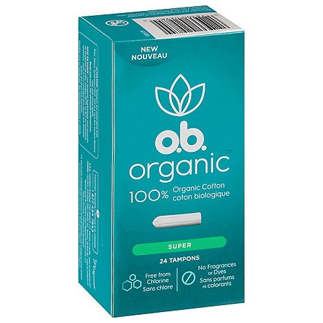 o.b. Organic Tampons Digital Applicator Free Super Absorbency - 24 Count