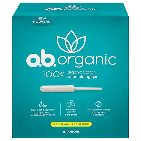 o.b. Organic Tampons Plant Based Applicator Regular Absorbency - 18 Count