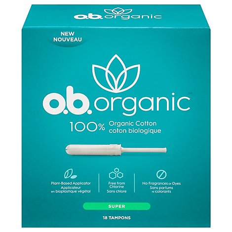 o.b. Organic Tampons Plant Based Applicator Super Absorbency - 18 Count