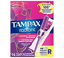 Tampax Pocket Radiant Tampons Regular Absorbency Unscented - 14 Count