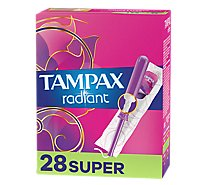 Tampax Pocket Radiant Tampons Super Absorbency Unscented - 28 Count
