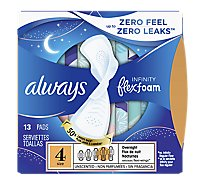 Always Infinity Pads FlexFoam Size 4 Overnight Absorbency Unscented - 13 Count