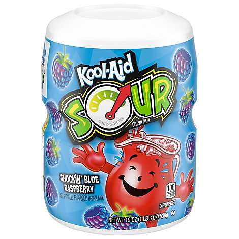 Kool-Aid Drink Mix Sour Shockin Blue Raspberry 8 Count - 19 Oz
