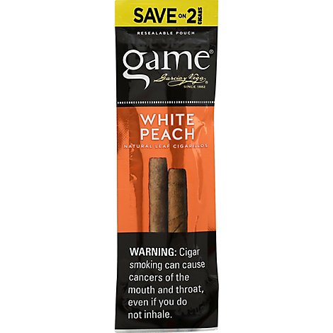 Gyv Game Cigarillos Ff White Peach - 2 Count