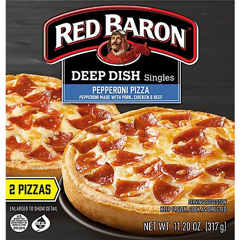 Red Baron Pizza Deep Dish Singles Pepperoni 2 Count - 11.2 Oz