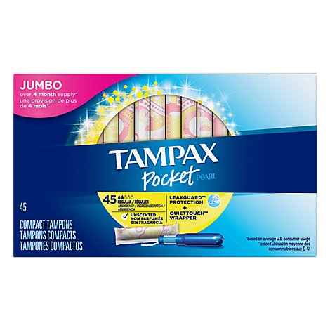 Tampax Pocket Pearl Tampons Regular Absorbency Unscented - 45 Count