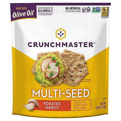 Crunchmaster Crackers Multi Seed Roasted Garlic - 4 Oz