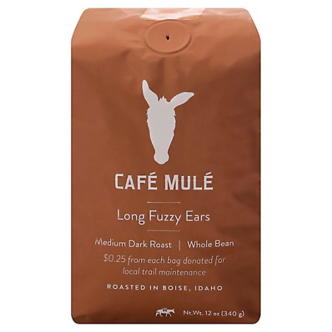 Cafe Mule Coffee Whole Bean Medium Dark Roast Long Fuzzy Ears - 12 Oz