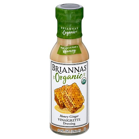 BRIANNAS Organic Dressing Vinaigrette Honey Ginger - 10 Oz