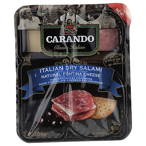 Carando Italian Dry Salami With Fontina Cheese - 3.16 Oz