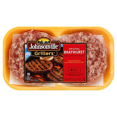Johnsonville Grillers Bratwurst Patties Original 4 Patties - 16 Oz