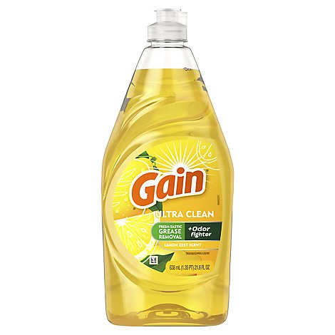 Gain Ultra Dishwashing Liquid Lemon Zest - 21.6 Fl. Oz.