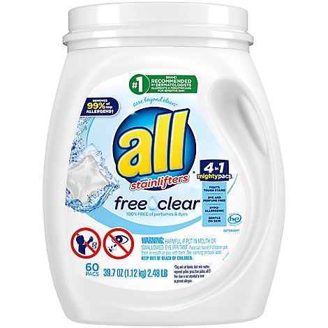 all Laundry Detergent Liquid Free Clear Mighty Pacs - 60 Count