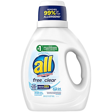 all Laundry Detergent Liquid Free Clear for Sensitive Skin 24 Loads - 36 Fl. Oz.
