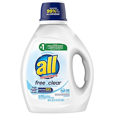 all Laundry Detergent Liquid Free Clear For Sensitive Skin 58 Loads - 88 Fl. Oz.