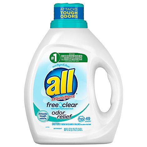 all Laundry Detergent Liquid Free Clear With Odor Relief 49 Loads - 88 Fl. Oz.