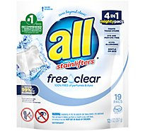 all Laundry Detergent Liquid Free Clear Mighty Pacs - 19 Count