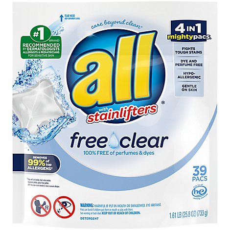 all Laundry Detergent Liquid Free Clear Mighty Pacs - 39 Count