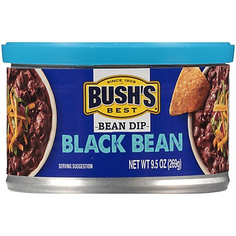 Bushs Dip Bean Black Beans - 9.5 Oz