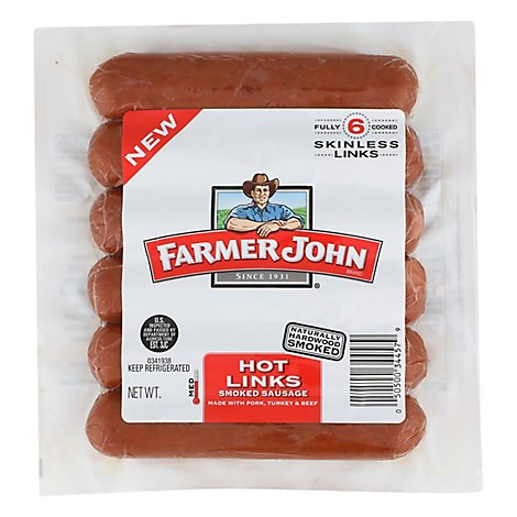Farmer John Smoked Sausage Hot - 14 Oz