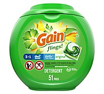 Gain Flings Laundry Detergent Liquid Pacs HE Compatible Original Scent - 51 Count