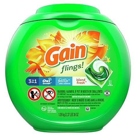 Gain Flings Laundry Detergent Liquid Pacs HE Compatible Island Fresh - 51 Count