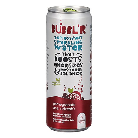 BUBBLR Sparkling Water Antioxidant Pomegranate Acai Refreshr - 12 Oz