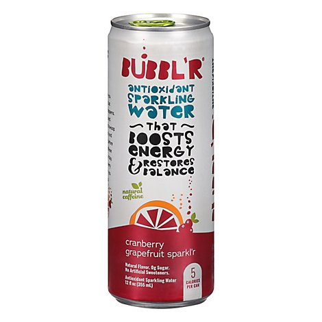 BUBBLR Sparkling Water Antioxidant Cranberry Grapefruit Sparklr - 12 Oz