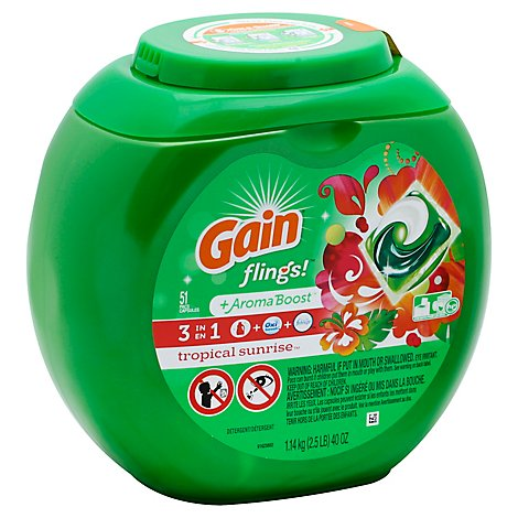 Gain flings! Laundry Detergent Liquid Pacs HE Compatible Tropical Sunrise Scent - 51 Count