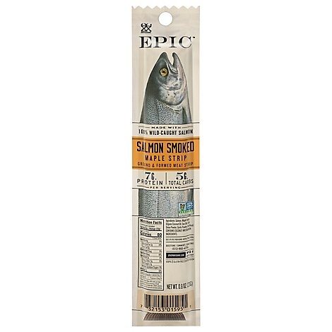 Epic Meat Snack Salmon Strip Smoked Maple - 0.8 Oz