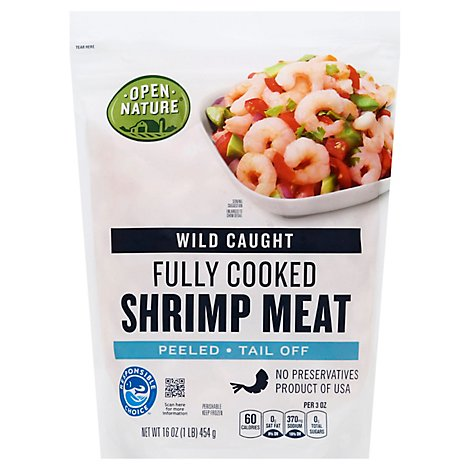 Open Nature Shrimp Meat Fully Cooked Wild Caught Peeled Tail Off - 16 Oz