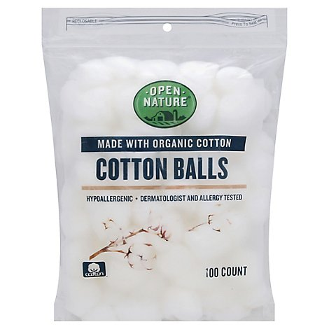 Open Nature Organic Cotton Balls Hypoallergenic - 100 Count