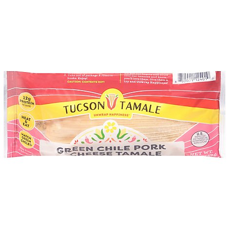 Tucson Green Chile Pork And Chese Tamale - 5 Oz