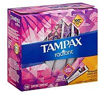 Tampax Radiant Tampons Regular Absorbency Unscented - 28 Count
