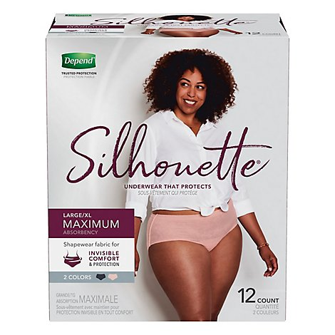 Depend Underwear Silhouette Max Abs L/Xl For Women 12 - 12 Count
