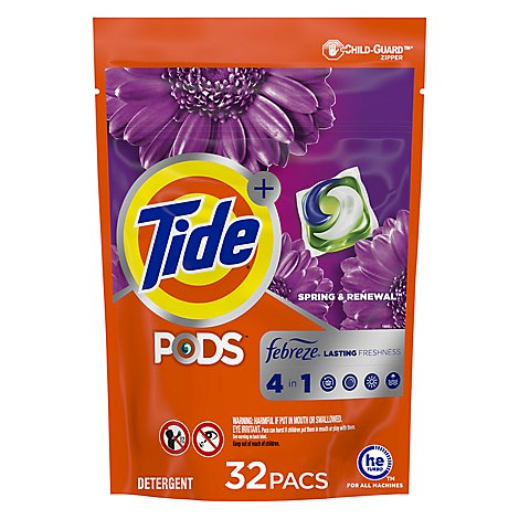 Tide Plus PODS Laundry Detergent 4in1 With Febreze Sprng & Renewal - 32 Count