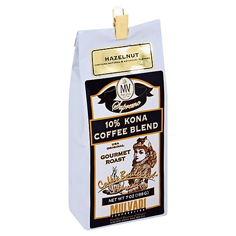 Mulvadi Kona Blend Coffee Gr Hazelnut - 7 Oz