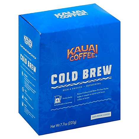 Kauai Coffee Cold Brew 4-Pack Pitcher Packs - 7.7 Oz