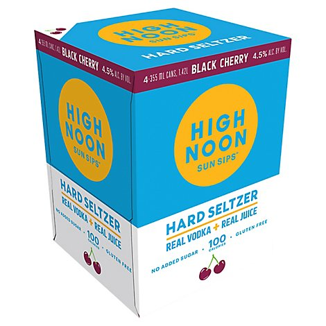 High Noon Black Cherry Flavored Vodka & Soda Cans 4.5% Abv - 4-355Ml