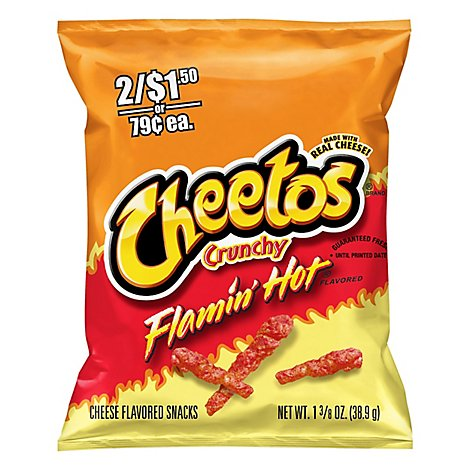 Cheetos Crunchy Cheese Flavored Snacks Flamin Hot Bag - 1.375 Oz