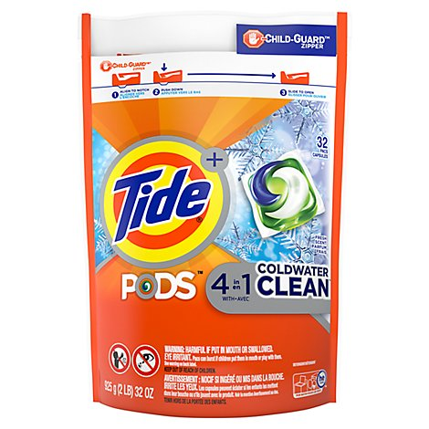 Tide Lq Pods Coldwater Clean - 32 Count