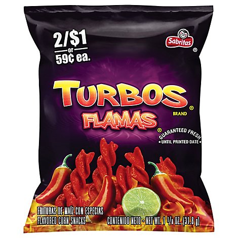 Sabritas Corn Snacks Turbos Flamas - 1.125 Oz