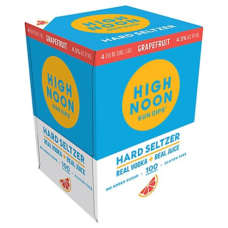 High Noon Grapefruit Flavored Vodka & Soda Cans 4.5% Abv - 4-355 Ml
