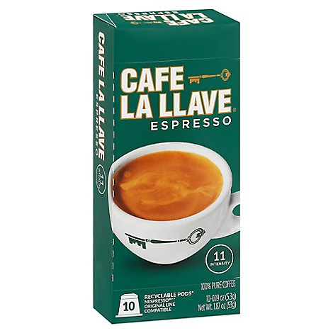 Cafe La Llave Coffee Pure Capsules Espresso 10 Count - 1.87 Oz