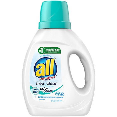 all Laundry Detergent Liquid Free Clear With Odor Relief 20 Loads - 36 Fl. Oz.