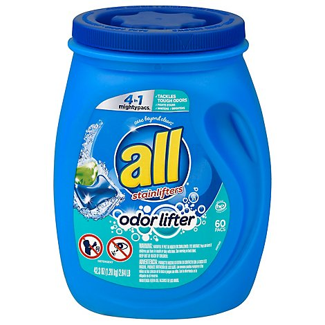 all Laundry Detergent Liquid With Odor Lifter Mighty Pacs - 60 Count