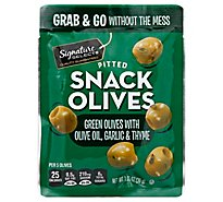 Signature Select Olives Snack Pitted Green Garlic - 1.05 Oz